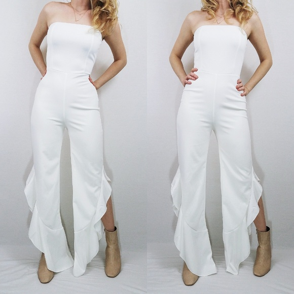 0089203b134 Lulu s Pants - After Midnight White Strapless Ruffle Leg Jumpsuit